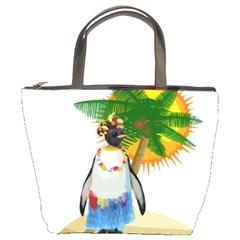 Tropical Penguin Bucket Bags by Valentinaart