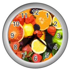 Fruits Pattern Wall Clocks (silver)  by Valentinaart