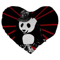 Deejay Panda Large 19  Premium Flano Heart Shape Cushions by Valentinaart