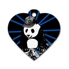 Deejay Panda Dog Tag Heart (one Side) by Valentinaart