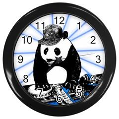 Deejay Panda Wall Clocks (black) by Valentinaart