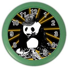 Deejay Panda Color Wall Clocks by Valentinaart