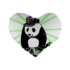 Deejay Panda Standard 16  Premium Flano Heart Shape Cushions by Valentinaart