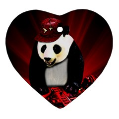 Deejay Panda Heart Ornament (two Sides) by Valentinaart