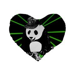 Deejay Panda Standard 16  Premium Heart Shape Cushions by Valentinaart