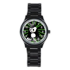 Deejay Panda Stainless Steel Round Watch by Valentinaart