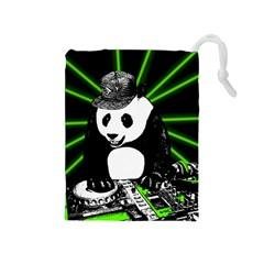 Deejay Panda Drawstring Pouches (medium)  by Valentinaart