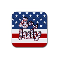 4th Of July Independence Day Rubber Square Coaster (4 Pack)  by Valentinaart