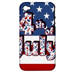 4th Of July Independence Day Apple Iphone 4/4s Hardshell Case (pc+silicone) by Valentinaart
