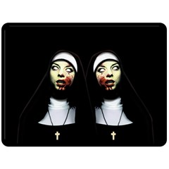 Horror Nuns Fleece Blanket (large)  by Valentinaart
