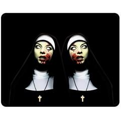 Horror Nuns Fleece Blanket (medium)  by Valentinaart