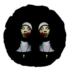 Horror Nuns Large 18  Premium Flano Round Cushions by Valentinaart