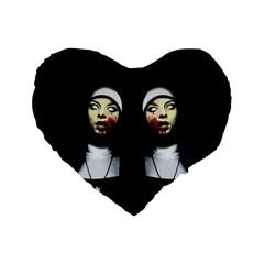 Horror Nuns Standard 16  Premium Flano Heart Shape Cushions by Valentinaart