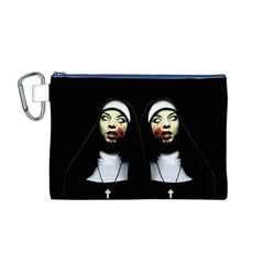 Horror Nuns Canvas Cosmetic Bag (m) by Valentinaart