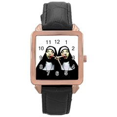 Horror Nuns Rose Gold Leather Watch  by Valentinaart