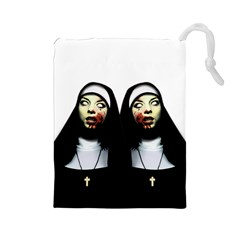 Horror Nuns Drawstring Pouches (large)  by Valentinaart