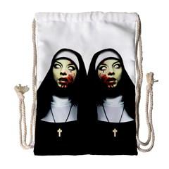Horror Nuns Drawstring Bag (large) by Valentinaart