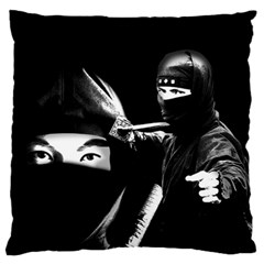 Ninja Large Flano Cushion Case (one Side) by Valentinaart