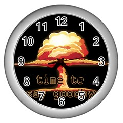 Nuclear Explosion Wall Clocks (silver)  by Valentinaart