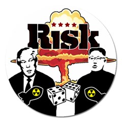 Nuclear Explosion Trump And Kim Jong Magnet 5  (round) by Valentinaart