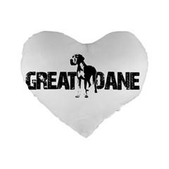 Great Dane Standard 16  Premium Flano Heart Shape Cushions by Valentinaart