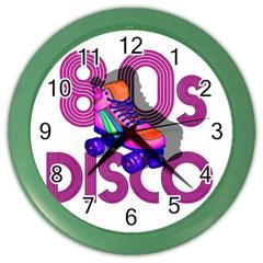Roller Skater 80s Color Wall Clocks by Valentinaart