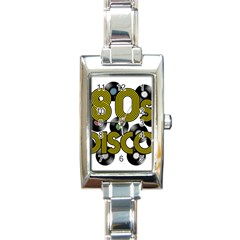 80s Disco Vinyl Records Rectangle Italian Charm Watch by Valentinaart