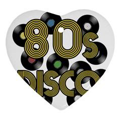80s Disco Vinyl Records Ornament (heart) by Valentinaart