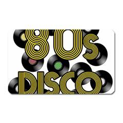 80s Disco Vinyl Records Magnet (rectangular) by Valentinaart