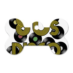 80s Disco Vinyl Records Dog Tag Bone (two Sides) by Valentinaart