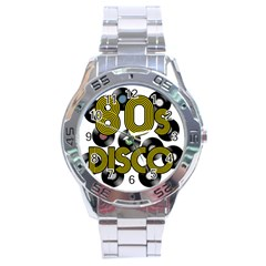 80s Disco Vinyl Records Stainless Steel Analogue Watch by Valentinaart