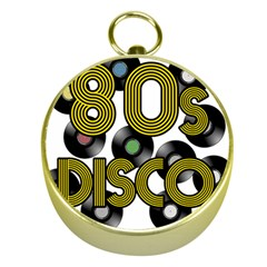 80s Disco Vinyl Records Gold Compasses by Valentinaart