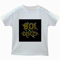 80s Disco Vinyl Records Kids White T Shirts by Valentinaart