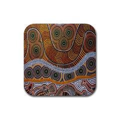 Aboriginal Traditional Pattern Rubber Square Coaster (4 Pack)  by Onesevenart