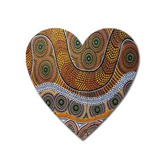 Aboriginal Traditional Pattern Heart Magnet by Onesevenart