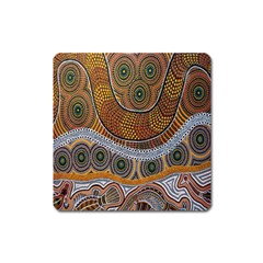 Aboriginal Traditional Pattern Square Magnet by Onesevenart