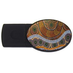 Aboriginal Traditional Pattern Usb Flash Drive Oval (4 Gb) by Onesevenart
