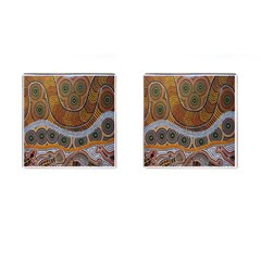 Aboriginal Traditional Pattern Cufflinks (square) by Onesevenart