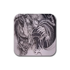 Chinese Dragon Tattoo Rubber Square Coaster (4 Pack)  by Onesevenart