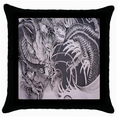Chinese Dragon Tattoo Throw Pillow Case (black) by Onesevenart