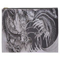 Chinese Dragon Tattoo Cosmetic Bag (xxxl)  by Onesevenart