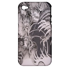 Chinese Dragon Tattoo Apple Iphone 4/4s Hardshell Case (pc+silicone) by Onesevenart
