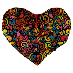 Art Traditional Pattern Large 19  Premium Flano Heart Shape Cushions by Onesevenart