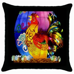 Chinese Zodiac Signs Throw Pillow Case (black) by Onesevenart