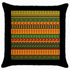 Mexican Pattern Throw Pillow Case (black) by Onesevenart