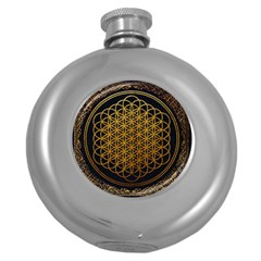 Bring Me The Horizon Cover Album Gold Round Hip Flask (5 Oz) by Onesevenart