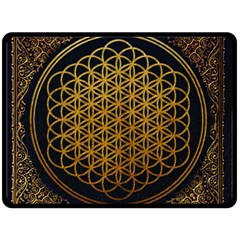 Bring Me The Horizon Cover Album Gold Double Sided Fleece Blanket (large)  by Onesevenart