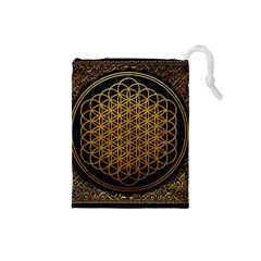 Bring Me The Horizon Cover Album Gold Drawstring Pouches (small)  by Onesevenart