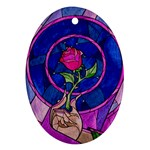 Enchanted Rose Stained Glass Ornament (Oval)