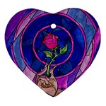 Enchanted Rose Stained Glass Ornament (Heart)